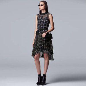 Simply Vera Wang Black Plaid Flouncy Dress L/XL